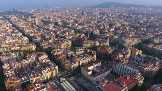 barcelona aerial view by drone - unesco world heritage site stock videos & royalty-free footage