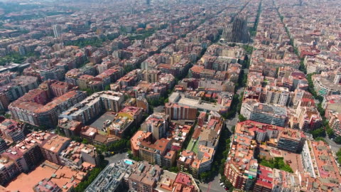 barcelona aerial view by drone - barcelona spain stock videos & royalty-free footage