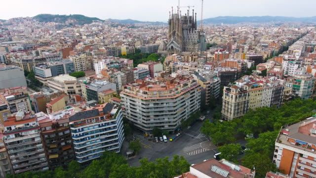 barcelona aerial view by drone - sagrada familia stock videos and b-roll footage