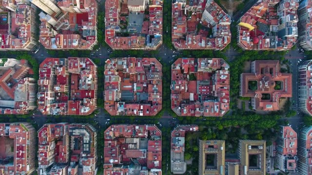 barcelona aerial view by drone - inquadratura da un aereo video stock e b–roll