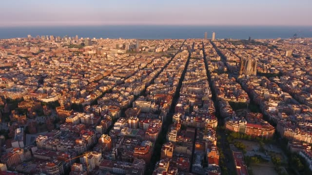 barcelona aerial view by drone - aircraft point of view stock videos & royalty-free footage