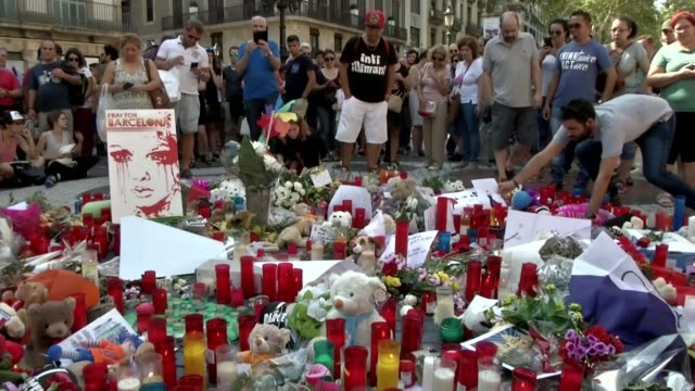 barcelona and cambrils attacks: tributes to victims; spain: barcelona: ext timelapse - speeded up sequence people laying flowers - flroal tributes -... - cambrils stock videos & royalty-free footage