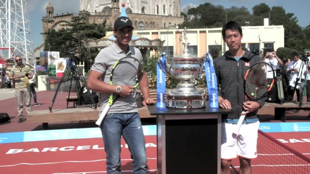 Rafael Nadal and Kei Nishikori playing tennis during the Photo Opportunity event ahead of the Barcelona Open Banc Sabadell 64th Conde de Godo Trophy...