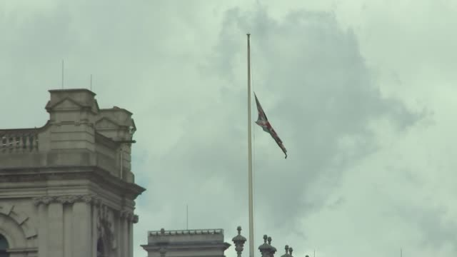 London flags at half mast ENGLAND London Westminster EXT GVs flags at half mast over Palace of Westminster and Victoria Tower /