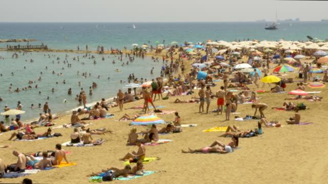 vídeos de stock e filmes b-roll de barcelona beach at summer - ensolarado