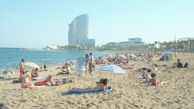 barcelona beach iconic image during coronavirus crisis. barceloneta district, summer 2020 - spain stock videos & royalty-free footage