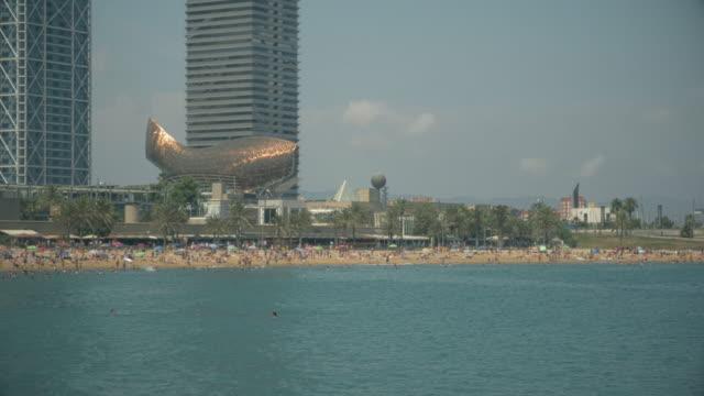 Barcelona beach in summer near Port Olimpic