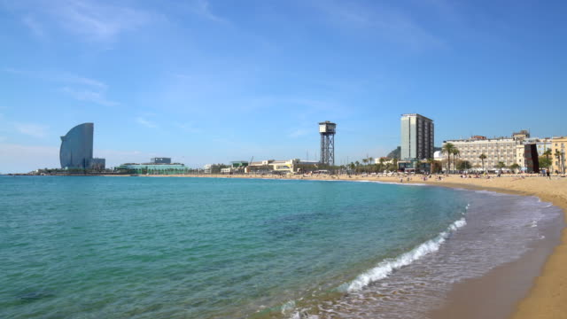 barcelona beach - promenade stock videos & royalty-free footage