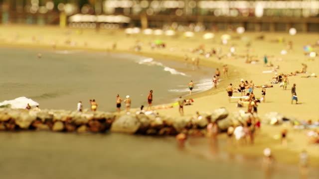 barcelona beach - tilt shift stock videos & royalty-free footage