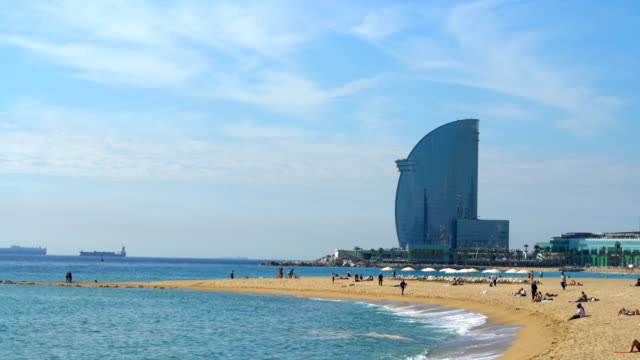 barcelona beach - barcelona spain stock videos & royalty-free footage