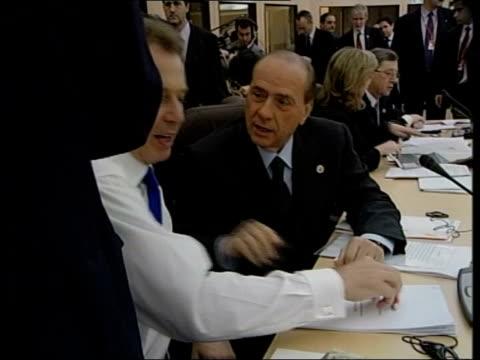 lib spain barcelona british prime minister tony blair mp talking with italian prime minister silvio berlusconi at eu summit lib blair and us... - 2001 stock-videos und b-roll-filmmaterial