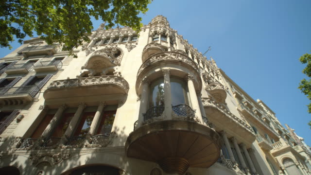 Barcelona Casa Lleo Morera building steadicam shot. Passeig de Gracia boulevard