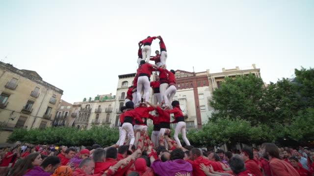 Barcelona castellers human pyramid teamwork