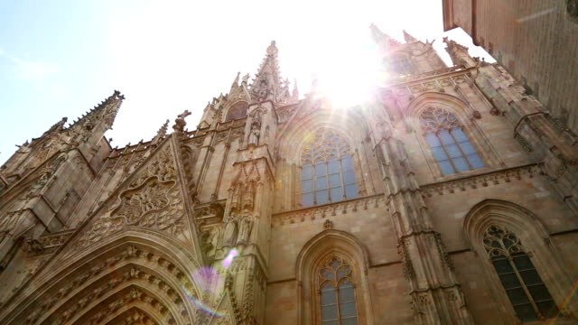 barcelona cathedral in gothic quarter - barcelona spain stock videos & royalty-free footage