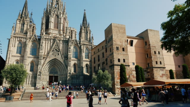 barcelona cathedral in barrio gotico - gothic quarter barcelona stock videos and b-roll footage
