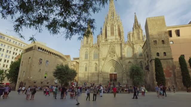 barcelona cathedral in barrio gotico - barcelona spain stock videos & royalty-free footage