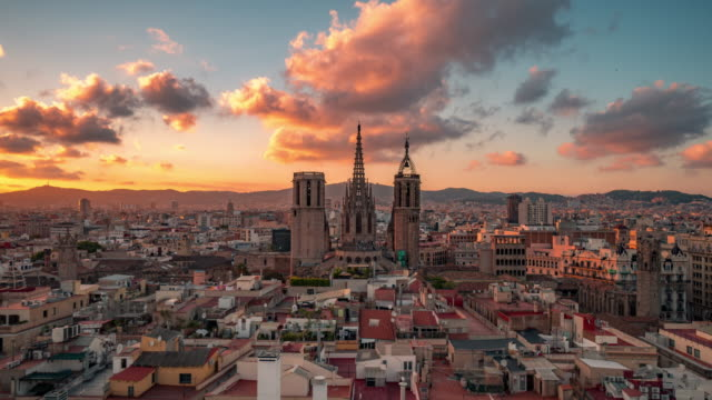 barcelona cathedral timelapse - gothic quarter barcelona stock videos and b-roll footage