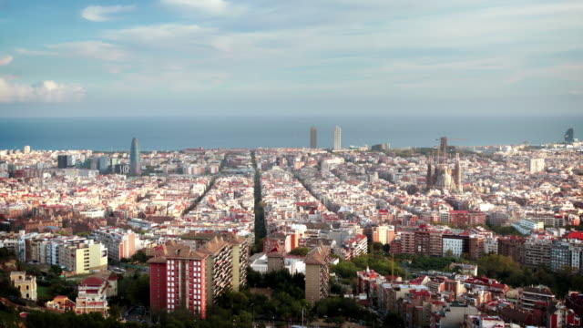 barcelona cityscape, spain - barcelona spain stock videos & royalty-free footage