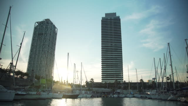 barcelona coast from a boat - boat point of view stock videos and b-roll footage