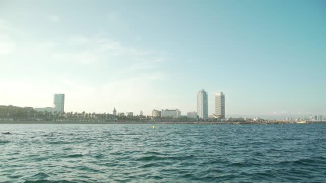 vídeos y material grabado en eventos de stock de barcelona coast from a boat - embarcación marina