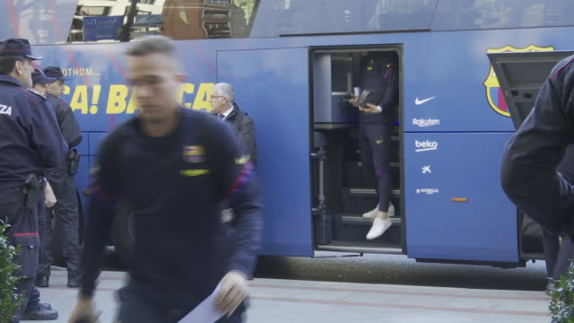 barcelona fc's football players arrive in bilbao to play a match against athletic club for king's cup final - football team stock videos & royalty-free footage