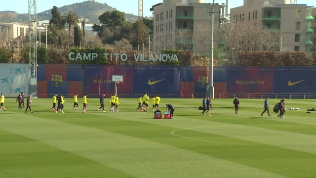 barcelona f.c's football players during the training, that takes place at ciutat esportiva one day before the football match against athletic club... - football player stock videos & royalty-free footage