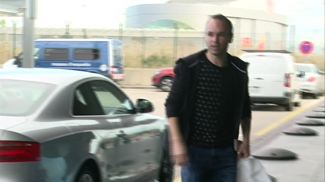 Barcelona football player Andrés Iniesta is seen at airport to travel to Zurich to attend Golden Ball Galaall Gala