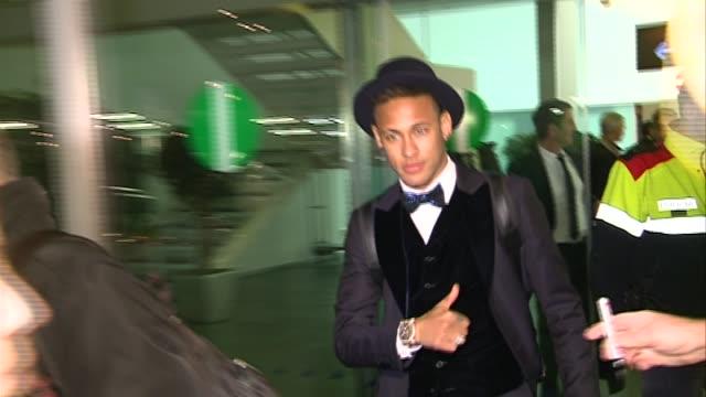 barcelona football player neymar da silva arrives in barcelona after attending the golden ball gala - neymar da silva stock-videos und b-roll-filmmaterial