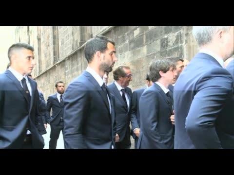 fc barcelona former coach tito vilanova's funeral - neymar da silva stock-videos und b-roll-filmmaterial