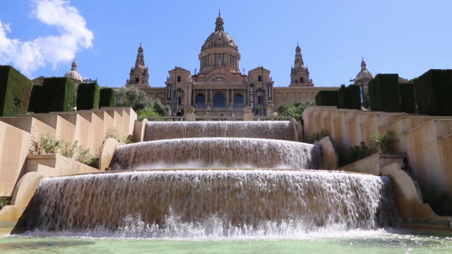 barcelona, fountains and gardens in the museu nacional d'art de catalunya (national art museum of catalonia) - architectural dome stock videos & royalty-free footage