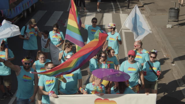 barcelona gay pride parade. lgbtqi families association - demonstration stock videos & royalty-free footage