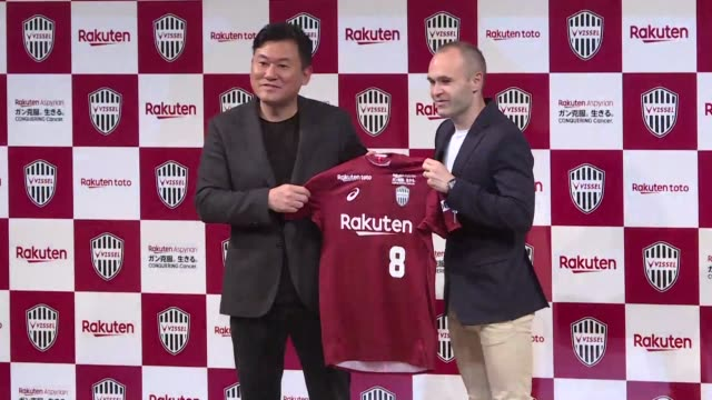 Barcelona legend Andres Iniesta joins Japan's Vissel Kobe and presents his new jersey to the press