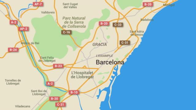 vídeos y material grabado en eventos de stock de animación mapa de barcelona, 4 k - mapa