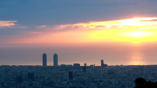 barcelona morning with haze - heatwave stock videos & royalty-free footage