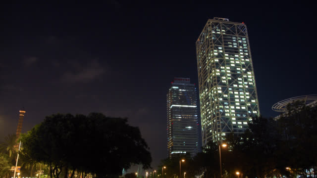 W/S Barcelona night, Mapfre tower and Hotel Arts, lighting