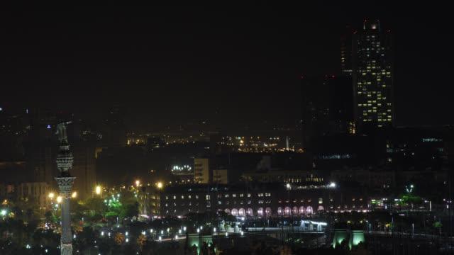 W/S Barcelona night skyline, marina, Columbus monument, Hotel Arts
