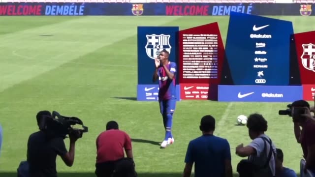 barcelona officially present their new recruit french starlet ousmane dembele after he agreed a five year deal for a fee of 105 million euros plus... - borussia dortmund stock videos and b-roll footage