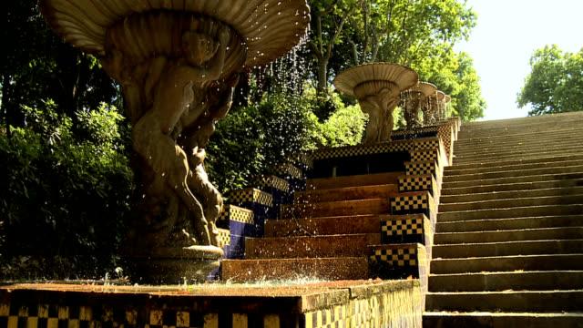 Barcelona parc montjuic ceramic tile water fountain steps