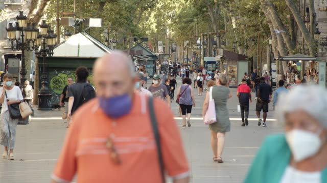 barcelona ramblas during covid-19 crisis, summer 2020. old people walking - walking stock videos & royalty-free footage