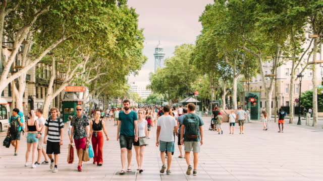 barcelona ramblas hyper lapse - moving down stock videos & royalty-free footage