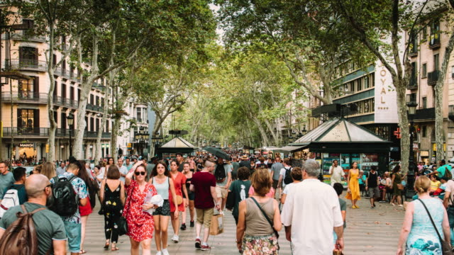 barcelona ramblas hyper lapse - urban road stock videos & royalty-free footage