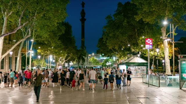 barcelona ramblas hyper lapse - nightlife stock videos & royalty-free footage