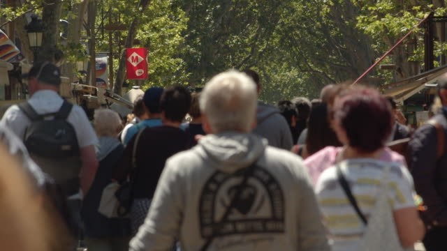 barcelona ramblas super slow motion. famous street establishing shot filmed slow motion with telephoto lens with defocused crowd - telephoto lens stock videos and b-roll footage
