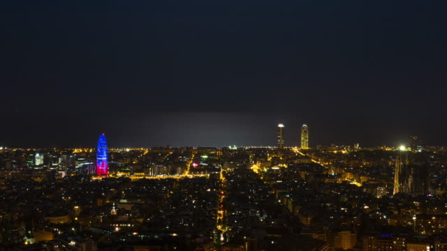 Barcelona skyline night time lapse