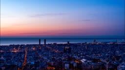 Barcelona Skyline Night to Day Time Lapse