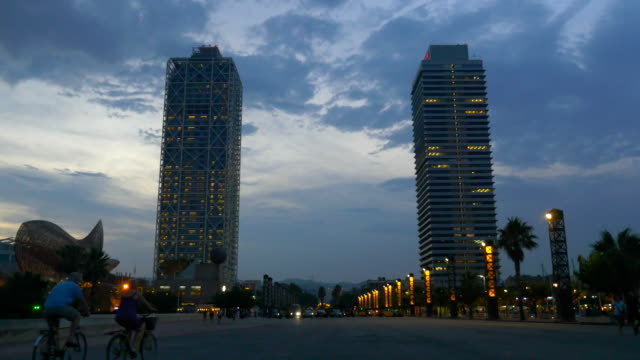 Barcelona skyscrapers at dusk