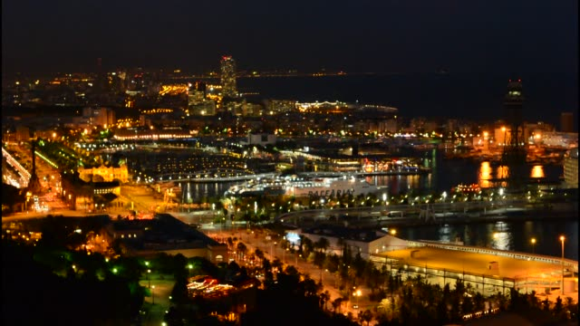 Barcelona Spain twilight exposure of night in city downtown water and skyline