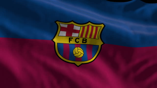 barcelona spanish soccer team flag waving. computer generated animation for editorial use. seamlessly looped and close up. - loopable moving image stock videos & royalty-free footage