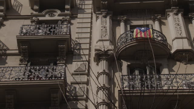 barcelona street view - balcony stock videos and b-roll footage