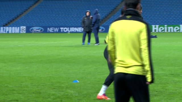 barcelona team train ahead of champions league tie england manchester etihad stadium various of barcelona team training on pitch including close... - lionel messi stock videos and b-roll footage